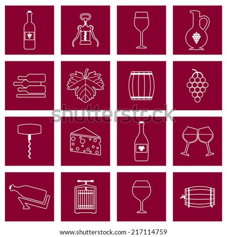 Wine alcohol drink outline icons set of wineglass bottle isolated vector illustration - stock vector