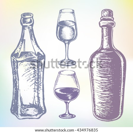 Wine alcohol set. Hand-drawn alcohol vector. Grape wine or beverage alcohol drink set. Ink drawn wine illustration with wine, rum, wine bottle, wine glass, wine container, wine tumbler, wine goblet. - stock vector