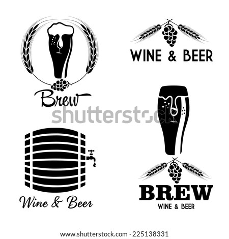 wine and beer vintage labels set - stock vector