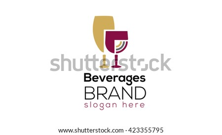 Wine and beverages logo template (wine glass sign, wine glass symbol, icon) - stock vector