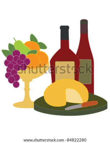 Wine and Fruit - stock vector