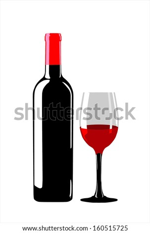 wine and glass - stock vector