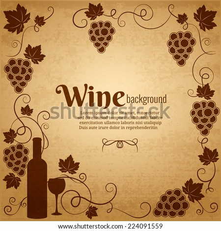 Wine and grapes frame in sepia and brown with central copyspace surrounded by bunches of grapes  a wine bottle and wineglass and vines with scrolling tendrils and leaves  square format - stock vector