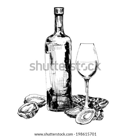 Wine and oysters. Hand drawn graphic illustration - stock vector