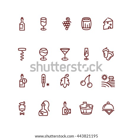 Wine and sommelier line icons. Vector illustration