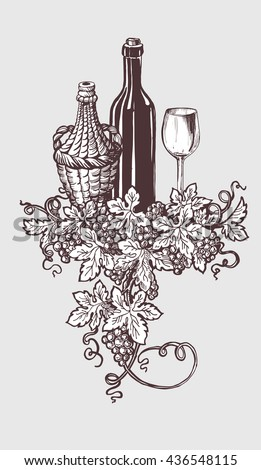 Wine and wine tasting illustration with wine bottle and grapes wreath decoration. Hand drawn sketch style. Vector illustration. - stock vector