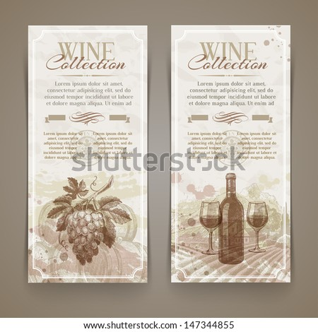Wine and winemaking - vector grunge vintage banners with hand drawn elements - stock vector