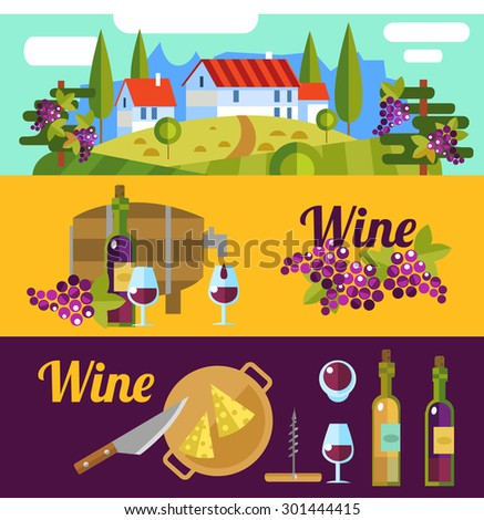 Wine banners. Flat vector landscape Tuscany and wine elements. - stock vector