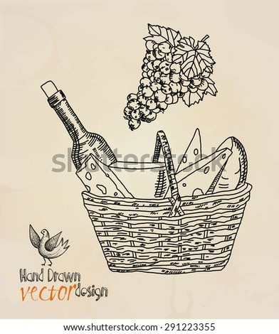 wine. basket with wine and cheese - stock vector