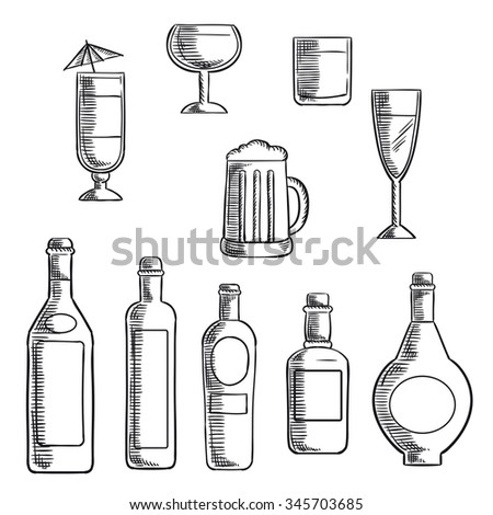 Wine, beer, whiskey, vodka and liquor bottles with filled glasses and mixed cocktail. Sketch icons set for food and drinks themes design   - stock vector