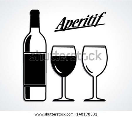 wine bottle and cup set/aperitif/ black white vector illustration - stock vector