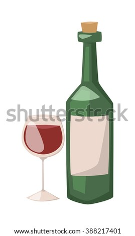 Wine bottle and glass of alcohol illustration. Red wine in a glass isolated on white background - realistic cartoon . Glass red wine . Wine bottle flat illustration. - stock vector