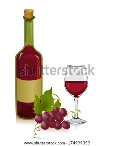 wine bottle and glass. vector illustration