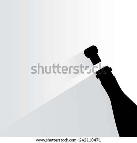 wine bottle and wine cork on white background, flat and shadow theme - stock vector
