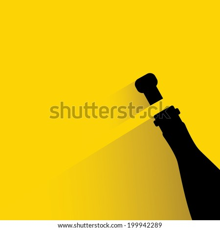 wine bottle and  wine corks, yellow background flat and shadow theme - stock vector