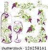 Wine bottle and wineglass with grapevines. Vector design elements.  - stock vector