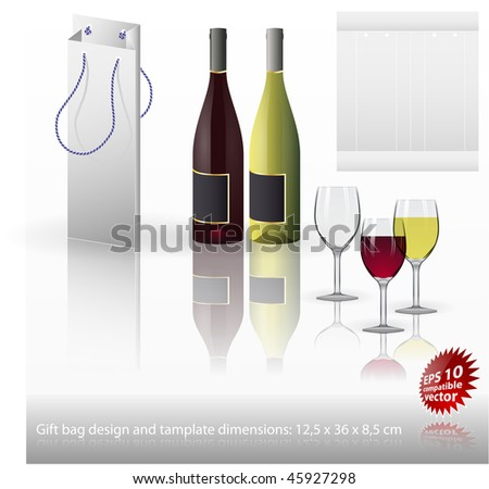 Wine bottle gift bag with template and glasses - stock vector