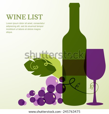 Wine bottle, glass, branch of grape with leaves. Abstract vector background design template with place for text. Concept for wine list, menu, flyer, party, alcohol drinks, celebration holidays. - stock vector