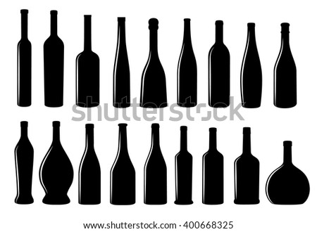 Wine bottle icon vector collection eps10 vector