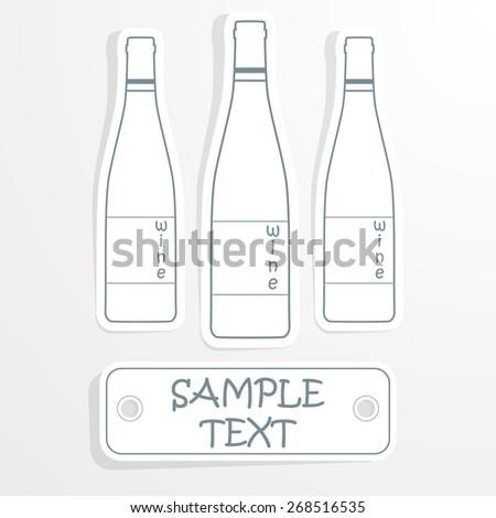 Wine bottle on paper - stock vector