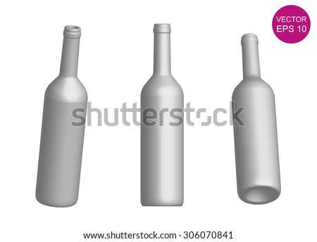 Wine bottle template. 3D. Vector Illustration. EPS10 - stock vector
