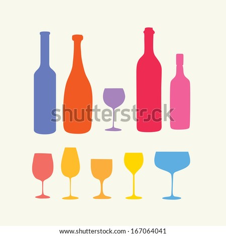 Wine bottle & wineglass,vector