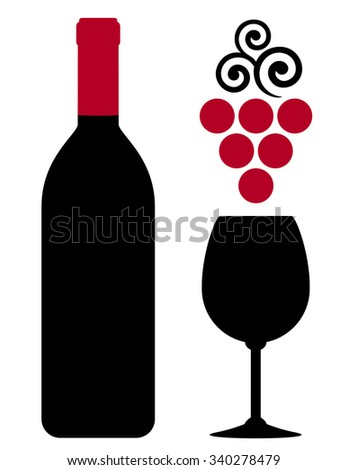 wine bottle with glass and red grape on white background - stock vector