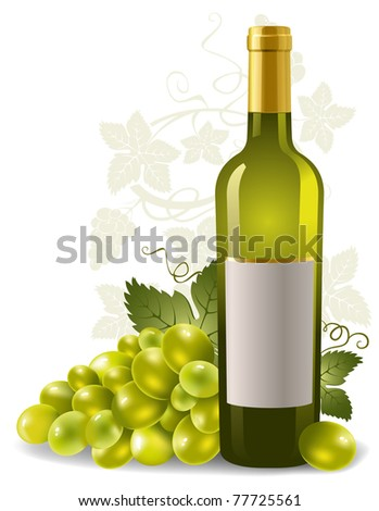 wine bottle with grape and blank label