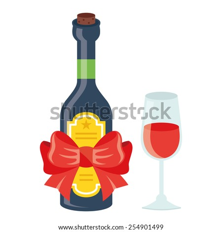 Wine bottle with yellow label and red festive bow and glass of wine. Creative detailed flat style vector illustration. Isolated on white background. - stock vector