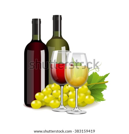 Wine bottles glasses and grapes isolated photo-realistic vector illustration