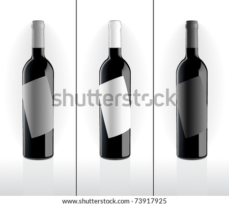 Wine bottles set - stock vector
