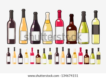 wine bottles set isolated on white