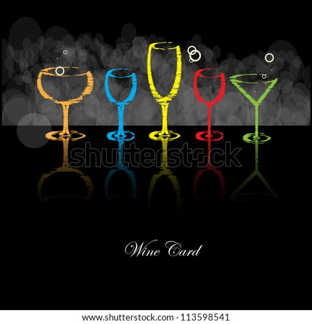 wine card background alcohol drink glass - stock vector