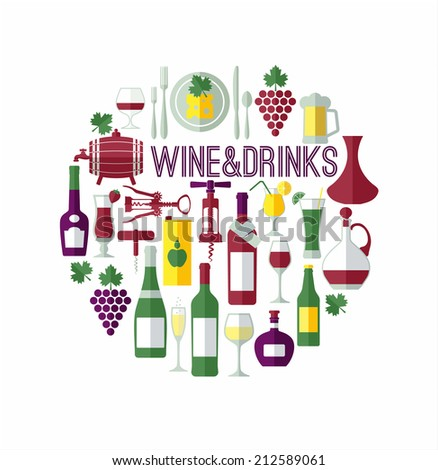 Wine & drinks abstract background.Flat design. - stock vector