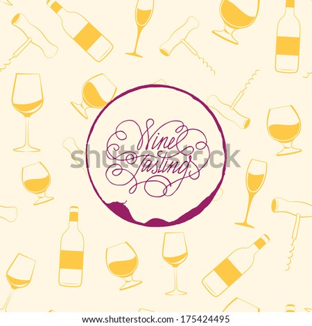 Wine drops over text paper background. Vector Illustration. - stock vector