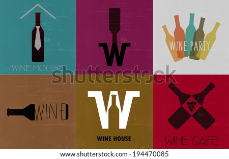 Wine flat icons. Vintage background. Cards for restaurant.