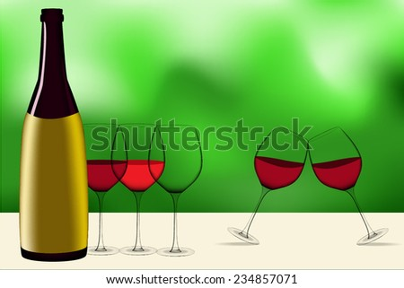 wine glass and bottle vectors