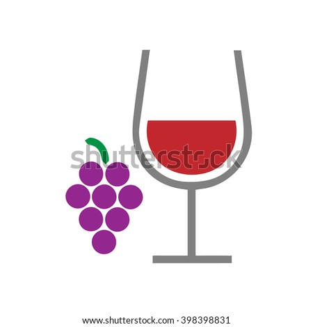 Wine glass and grapes vector simple isolated icon sign symbol. - stock vector