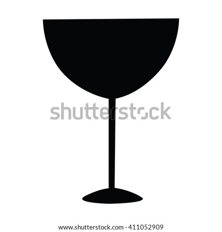Wine glass icon hand draw silhouette isolated on white background vector - stock vector