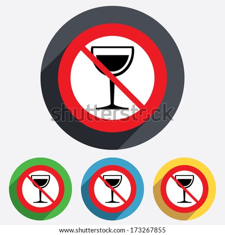Wine glass sign icon. Do not drink Alcohol symbol. Red circle prohibition sign. Stop flat symbol. Vector - stock vector