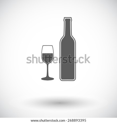 Wine glass. Single flat icon on white background. Vector illustration. - stock vector