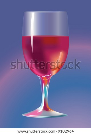 Wine-glass with a red wine. A vector illustration. - stock vector