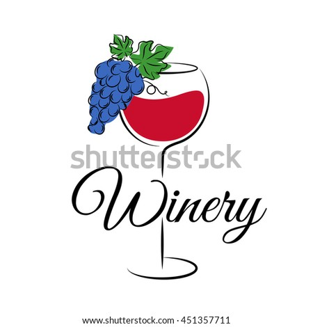 Wine glass with grape. Winery logo in hand drawn style. Wine concept for winery products, harvest, wine list, wine tasting, menu and emblem design. Vector illustration isolated on white. - stock vector