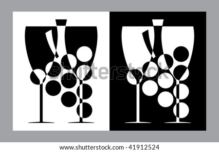Wine glasses and botlle sign(vector,CMYK) - stock vector
