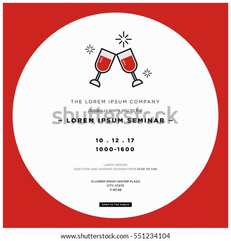Wine glasses cheers business seminar invitation stock vector wine glasses cheers business seminar invitation design template with time date and venue details stopboris Choice Image