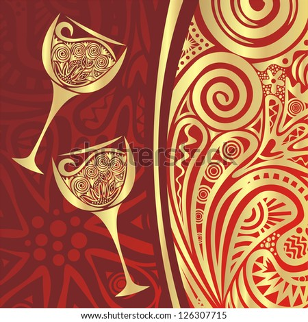 Wine glasses pattern background red gold vector illustration - stock vector