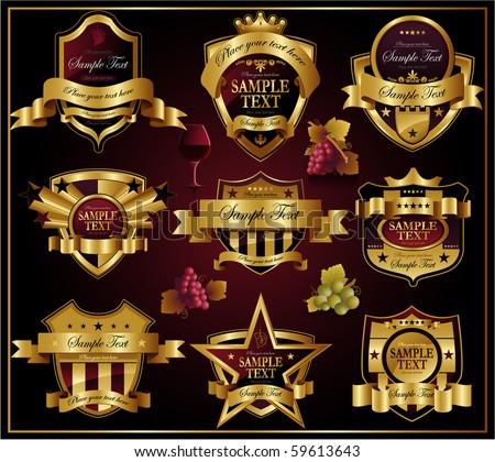 Wine golden ornate labels - stock vector