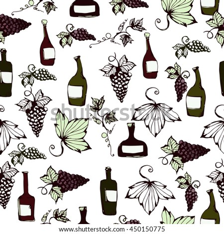 Wine&grape seamless pattern. Wine making products in sketch style. Vector illustration with wine, grapes, grape twig. Classical alcoholic drink. wine design elements. White background. - stock vector