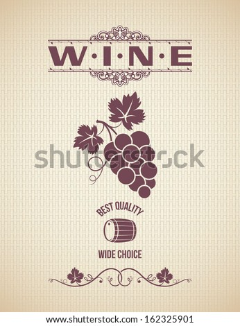 wine grapes design vintage background - stock vector