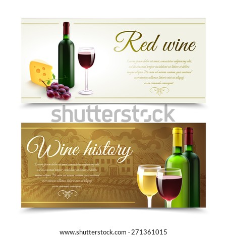 Wine horizontal banners set with cheese and grape bunch isolated vector illustration - stock vector